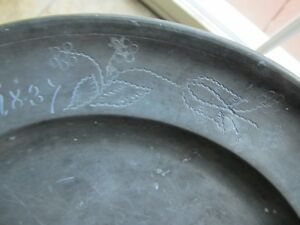 Rare 1837 Antique Hallmarked Pewter Plate Great Design Dated Owner Identified