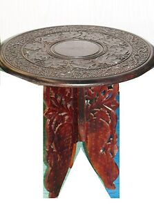 Antique Wood Hand Carved 2 Piece Accent Table Plant Stand India 18 Tripod Legs