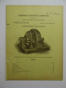 1912 General Electric Synchronous Converter Motor Bulletin Catalog Ge Antique Vg