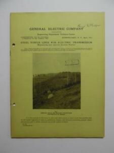 1913 General Electric Steel Tower Lines For Electric Transmission Catalog Ge Vg