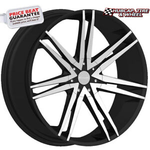 Elure 032 Black Machined Face Center Cap 20 x7 5 Custom Wheels Rims set Of 4