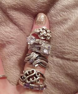 Sterling Silver Lot Not Scrap Six Rings Solid Sterling Silver