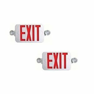 Ciata Lighting All Led Decorative Red Exit Sign Emergency Light Combo