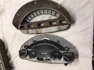 56 1956 Ford Truck Gauges Instrument Cluster Speedometer Bezel Parts Only