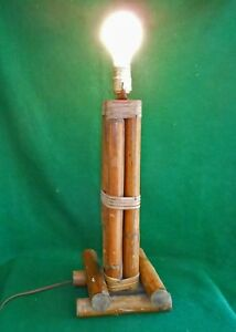 Vintage Mid Century Modern Tiki Hawaiian Hawaii Tall Square Decor Rattan Lamp