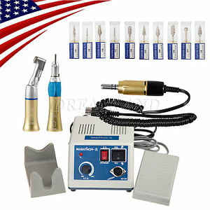Gold Dental Lab Marathon 35k Rpm Handpiece Electric Micro Motor 10 drills burs