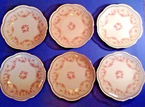 Schumann Arzberg 6 Reticulated Dessert Plates Bridal Rose Pink Germany