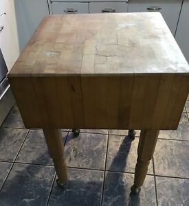 Boos Maple Dovetailed Butcher Block Table Cutting Board On Brass Rolling Wheels