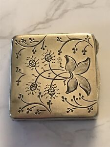 Antique Sterling Silver Etched Flowers With Ruby Snuff Pill Box
