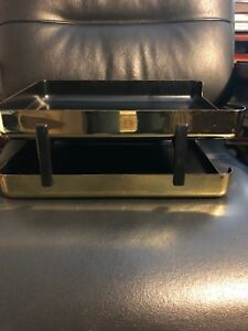 Gold Metallic Office Desk Set Busines Card Holder Tray Eldon 1980s Organizer