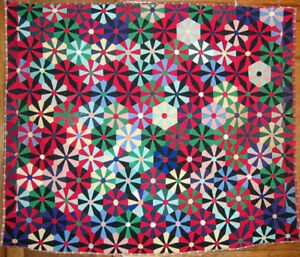 Cheerful Southern Antique Quilt Depression Era Funky Solid Color Vintage Twill