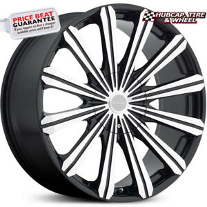Elure 030 Black Machined Face Metal Cap 20 x8 5 Custom Wheels Rims set Of 4