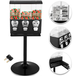Triple Bulk Candy Vending Machine Trio Coin Mechanisms 3 Head Black