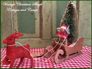 Santa S Wood Sleigh Child Antique Bottlebrush Tree Vtg Red Flocked Reindeer