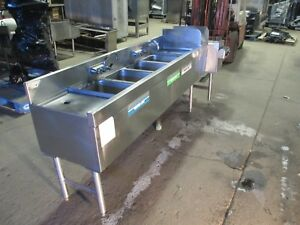 Glastender Fsb 72 s Back Bar 4 Compartment Sink W Hand Sink And 3 Drain Boards
