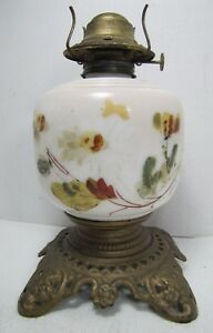 Antique Oil Lamp Cast Iron Base Floral Decorated White Milk Glass Center Old