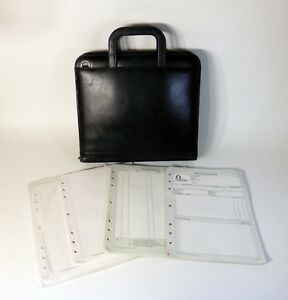 Franklin Covey 7 Ring Planner Black Zippered Briefcase Leather Day Timer Nice