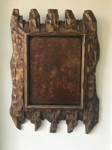 Large Vintage Art Deco Style Tramp Art Picture Frame One Of A Kind