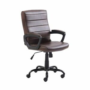 Mainstays Bonded Leather Mid back Manager s Office Chair Adjustable Brown