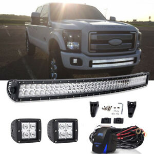 For 11 16 Ford F250 350 Lower Bumper 40 240w Curved Led Light Bar wire Kit
