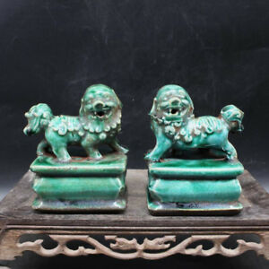 Chinese Old Marked Green Glazed Pair Porcelain Foo Dog Palace Lions Statues Gift