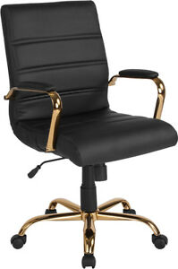 Flash Furniture Mid back Black Leather Executive Swivel Chair With Gold Frame An