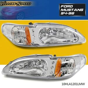 Projector Head Lights Lamps 2pc Ford Mustang 1994 1998 Halo Led Chrome