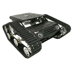 Black Smart Tank Chassis Car Kits With Dual Dc Motor And Code Wheel For Diy