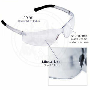 36 Bifocal Safety Glasses Clear Reader Safety Glasses 1 0 1 5 2 0 2 5 Diopter