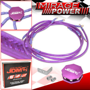 Universal 10mm High Performance Racing Grounding Ofc Wire Cable Kit Purple