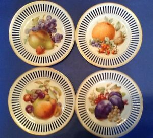 Czechoslovakia Aj Co 4 White Reticulated Dessert Plates Fruit Gold Rims