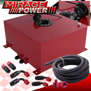50 Liters 13 Gallons Red Aluminum Fuel Cell Tank Black Cap Braided Oil Line