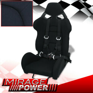 Reclinable Racing Bucket Black Seat 4 Point Black Quick Release Camlock Seatbelt