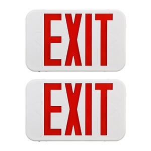 Red Led Emergency Exit Sign Light With Battery Ul Listed Ac 120v 277v 2 Pack