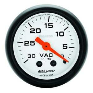Auto Meter 5784 Phantom Mechanical Vacuum Gauge 2 1 16 Inch
