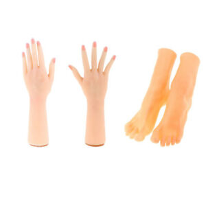 2 Pairs Pvc Female Hand Feet Mannequin For Gloves Shoes Socks Chain Display