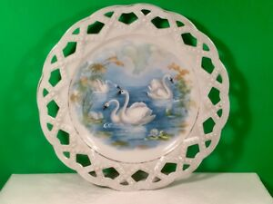 Swan Plate Early Antique French Porcelain Reticulated Pearled C 1800 S P127
