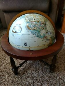 Repogle 12 Inch Diameter World Classic Globe With Wooden Stand Made In Usa