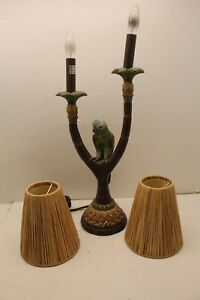 2002 Pacific Coast Lighting Jungle Parrot Lamp Hawaiian Tiki Tropical Works