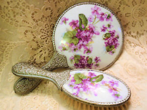 Victorian Ormolu Porcelain Violets Hand Mirror Brush Set