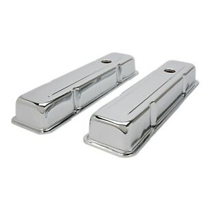 Sbc Chevy 305 327 350 400 Short Chrome Steel Valve Covers W Breather Holes