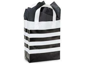 1 Unit Black Stripe Plastic Bags Bulk 4 Mil Shopping Bags 8x4x10 Unit Pack 100