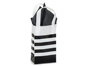 1 Unit Black Stripe Plastic Bags Bulk 4 Mil Shopping Bags 5x3x8 Unit Pack 100