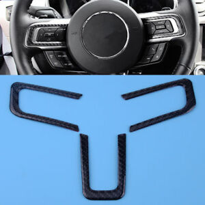 3x Carbon Fiber Interior Steering Wheel Cover Trim For Ford Mustang 2015 2018
