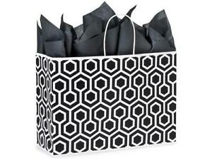 1 Unit Black Geo Graphic Recycled Paper Bags Mini pk 16x6x12 Unit Pack 25