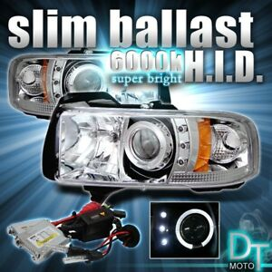 Slim 6000k Hid Kit 94 01 Dodge Ram Led Halo Projector Chrome Headlights