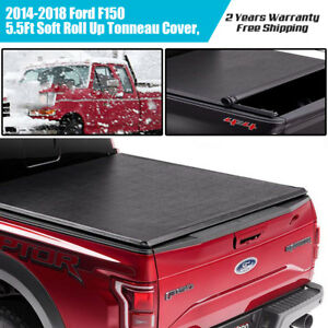 For 2014 18 Ford F 150 5 5 Bed Low Profile Roll up Tonneau Cover Truck Bed