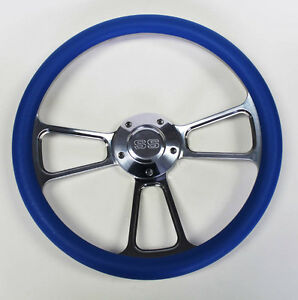 Steering Wheel Sky Blue And Billet Fits Ididit Flaming River Column 14 Ss Cap