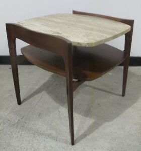 Bertha Schaefer Style Walnut Travertine Side Table Mid Century End