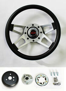 Chevelle Camaro Nova Grant Black 4 Spoke Steering Wheel 13 1 2 Red black Bowtie